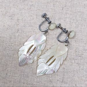 Vintage Mother of Pearl Feather Earrings Boho